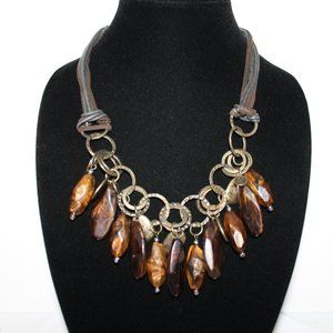 Bronze and brown leather necklace